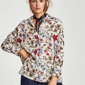 Zara Blouse XS Beige Floral Long Sleeve VNeck NWT
